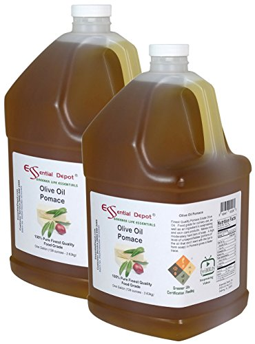 Olive Oil - Pomace Grade - Food Grade - 2 Gallons 256 oz - 2 x 1 Gallon Containers - safety sealed HDPE container with resealable cap