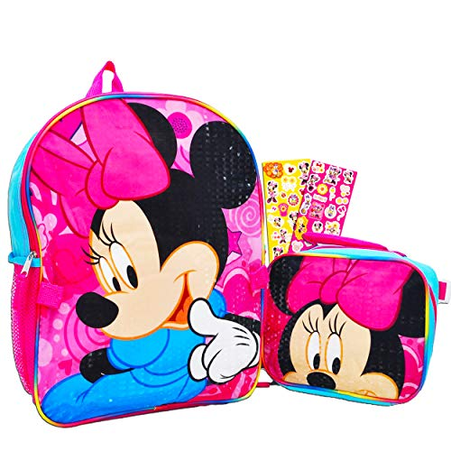 Disney Minnie Mouse Backpack with Lunch Box for Girls Bundle ~ Deluxe 16' Minnie Bag, Insulated Lunch Bag with Bow, and Minnie Mouse Stickers (Minnie Mouse School Supplies)
