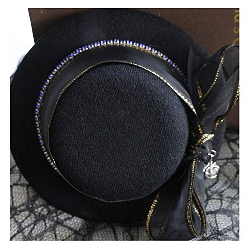 Duyani Original Lady Original Sterling 佬 Mini Sombrero de Copa Color café Accesorios de Sombrero Negro (Color : Black, Size : 28-30cm)