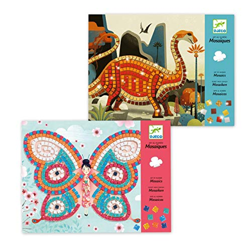 Djeco Mosaik Geschenkset mit 1x Mosaik Schmetterlinge un d 1x Mosaik Dinosaurier - Bundle - Sparset
