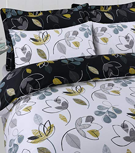 Linen Zone Posh Range Hotel Quality 100% Egyptian Cotton Reversible Duvet Cover Set With Decorative Piping (Bloom, Double)