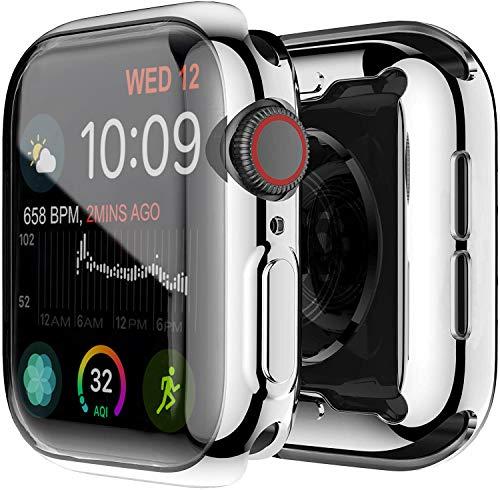 Yolin [2-Stück] All-Aro& TPU Bildschirmschutz Kompatibel mit Apple Watch Series 6/ SE/Series 5 / Series 4 40mm, Superdünne Weiche Schutzhülle für iwatch 40mm (1 Silber + 1 Transparent)