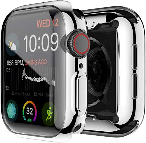 Yolin [2-Pack] Apple Watch Series 6/ SE/Series 5 / Series 4 44mm Schutzhülle, iwatch case Weiche Ultradünne TPU iwatch Displayschutz All-Around Hülle für Apple Watch 44mm (1 Silber + 1 Transparent)