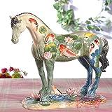 FCFLXJ Europeo Adornos para Caballos de cerámica Manualidades Decoración Hogar Sala de Estar TV Gabinete Lucky Horse Escultura Escritorio Estatua Decoración, Estilo 4 (36 * 30 * 16)