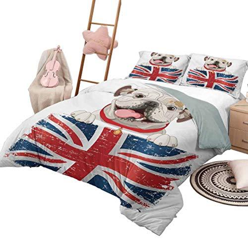 Juego de colcha de colcha Bulldog inglés Colcha de dormitorio liviana para todas las estaciones Happy Pet Bulldog sosteniendo una bandera Union Jack de Gran Bretaña King Size Crema Azul marino Rojo