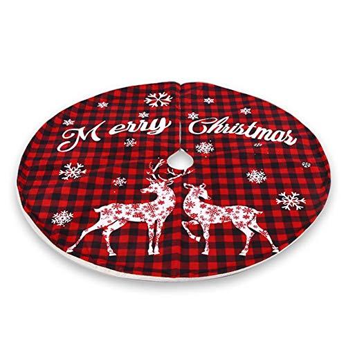120cm Weihnachtsbaum Rock Weihnachtsbaumdecke Rund Tannenbaum Decke Christmas Tree Skirt Weihnachtsbaum Teppich mit Weihnachtsmotive Baumdecke Christbaum Unterlage Weihnachtsdeko, Rot, Weiß