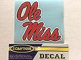 Craftique Ole Miss Rebels, Premium Vinyl Sticker 4' Decal Bumper Car Truck Laptop