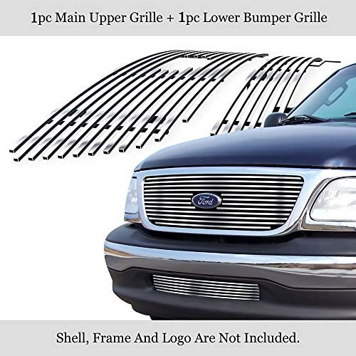 Amazon Com Aps Compatible With 01 03 Ford F 150 Harley Davidson Billet Grille Combo F67656a Automotive