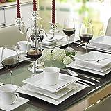 MALACASA, Serie Carina, 60 tlg. Cremeweiß Porzellan Geschirrset Kombiservice Tafelservice mit je 12 Kaffeetassen, 12 Untertassen, 12 Dessertteller, 12 Suppenteller und 12 Flachteller - 2