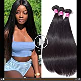 Gabrielle Weave Hair (16 18 20) 3 Bundles Brazilian Remy Human Straight Hair 100% Unprocessed Brazilian Virgin Human Hair Weave Straight Hair Bundles Extension Natural Color Hair Brazilian