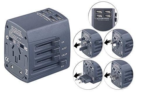 revolt Strom Adapter: 3in1-Universal-Welt-Reisestecker mit 4 USB-Ladeports, 5 A, 25 Watt (USB Netzteil USA)