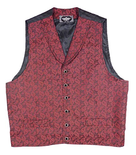 STARS & STRIPES Old Style Weste Red Bluff Vintage Oldstyle Weste Westernkleidung Westernbekleidung (Medium) Rot