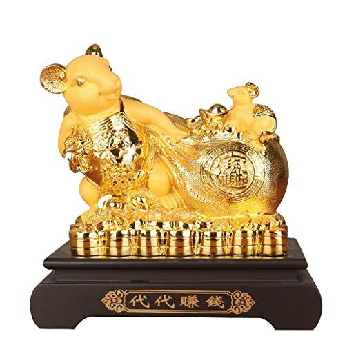 Feng Shui Dekoration Feng Shui Chinese Zodiac Rat Statue, Feng Shui Chinese 2020 Sternzeichen Ratte Maus Statue Dekoration for Home Office Dekoration Reichtum und viel Glück Skulptur Home Tisch Büro F