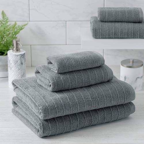 Welhome James 100% Cotton 6 Piece Towel Set | Grey | Stripe Textured | Supersoft & Durable | Highly Absorbent & Quick Dry | Ideal for Everyday Use | 450 GSM | 2 Bath 2 Hand 2 Wash Towels