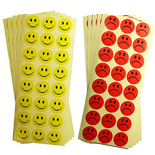 dealzEpic - Round Yellow Smile Face and Red Sad Face Labels - Self Adhesive Peel and Stick Paper Behavior Stickers - 1 inch in Diameter