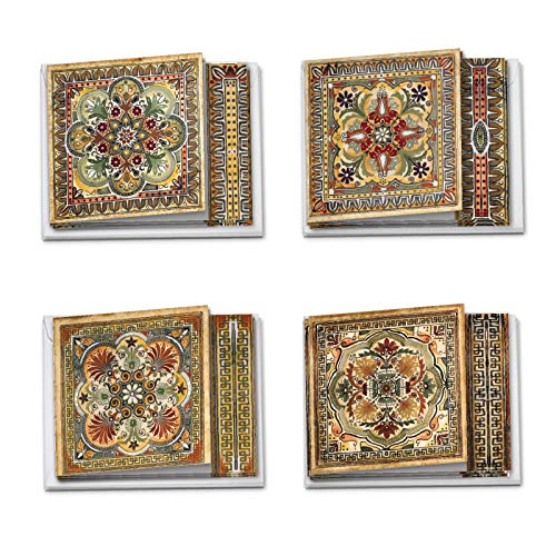 Ornate Tiles - Box of 12 Blank Note Cards with Envelopes (4 x 5.12 Inch) - Assorted All-Occasion Unique Tile Greeting Cards - All Occasion Notecards, Stationery Set (3 Each, 4 Designs) MQ4609OCB-B3x4