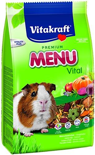 Vitakraft - Menú Premium Vital para Cobayas con Mezcla de Cereales, Frutas y Verduras, Alimento Principal - 3 kg