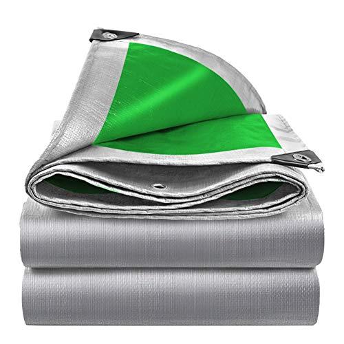 JTYX Heavy Duty Tarp Tarpaulin Reinforced Eyelets Thick PE Tarpaulin Waterproof Silver Green Tarp Sheet Premium Quality Cover Tarp for Outdoor Camping