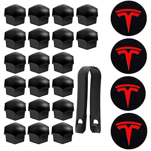 Gebildet 20Pcs Tapas de Tuerca de Rueda, Tapas de Tuerca de Perno de Rueda, Tapas de Tuerca de Neumático Hexagonales para Te-sla Model 3 Model S Model X + 4Pcs Logotipo Central (Alto Brillo, Negro)
