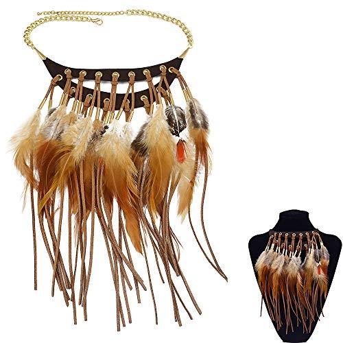 Jurxy Bohemian Halskette Feder Quaste Halskette Halskette Indianer Lange Kette Feder Damen Anhänger Erklärung Halskette Halsreif Schmuck - Braun