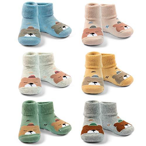 Baby Warme Wintersocken Baby Jungen Anti-Rutsch Socken Baby Mädchen Dicke Baumwollsocken 12-24 Monate/2T