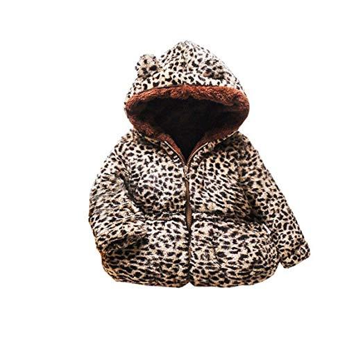 Infant Baby Gilrs Winter Coats Hoods,Full Zipper Down Jacket Outwear Hooded Sweater Snowsuit (Leopard, 80/S)