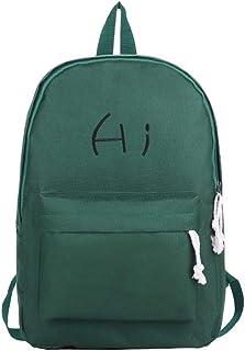 Stylish Alphabet Canvas Backpack Travel School Shoulder Bag Daypack (Color : Green)