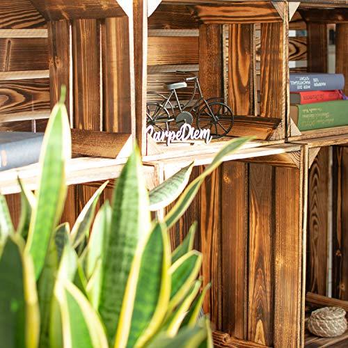 LAUBLUST 7er Set Vintage Holzkisten – Kisten in 2 Größen, 50x40x30cm / 40x30x25cm, Geflammt, Neu, Unbenutzt | Möbel-Kiste | Wein-Kiste | Obst-Kiste | Apfel-Kiste | Deko-Kiste aus Holz - 5