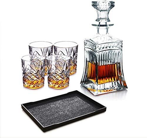 CYHT Whiskey Decanter Set de Cristal Conjunto de Gafas Whisky Botella de Whisky con 4 Gafas Whisky con Gorra hermética, sin puntoodesport