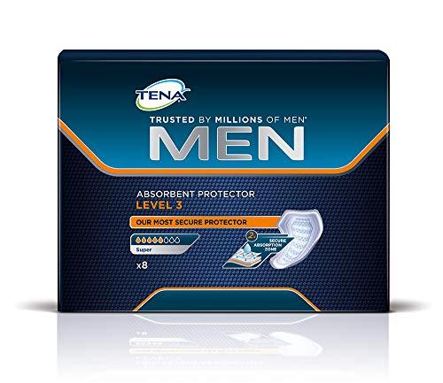 Tena Men - compresas para hombres con nivel 3 de protección y absorción – Paquete de 8