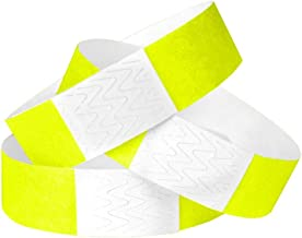 WristCo Neon Yellow 3/4 Inch Tyvek Unnumbered 500 Count Paper Wristbands for Events