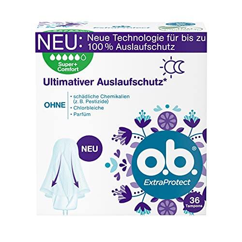 o.b. ExtraProtectSuper+ Comfort,Tamponsfürsehrstarke TagemitDynamic FitTechnologie &extra Schutzflügeln, für ultimativen Auslaufschutz* (1 x 36 Stück)