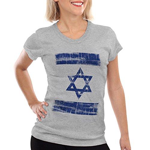 Israel Vintage Flagge Damen T-Shirt David Stern, Farbe:Grau meliert, Größe:2XL