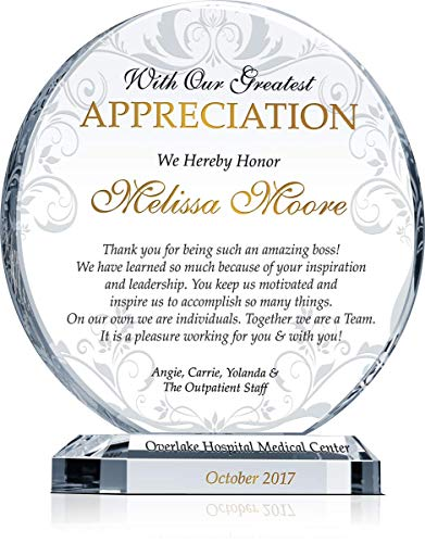 "Personalized Boss Appreciation Gift Plaque, Customized with boss' name and your name and appreciation message, unique boss day, birthday, Christmas gift for boss, manager, supervisor (M - 6.5"")"