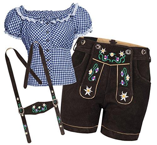 Bongossi-Trade Trachtenset Damen Trachten Lederhose braun kurz mit Stickereien blau weiß kariert 46-46