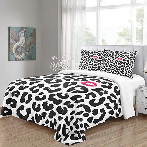 Empty Fundas de Edredón Patrón de Leopardo Cubrir edredón 135x200cm + 2 Almohada Cubrir Microfibra Suave habitación cómoda Dormitorio niño Hotel niña Juego de Ropa de Cama