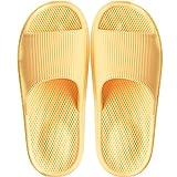 Zapatillas de estar por Casa Ultraligera de hombre y mujer, tira ancha, sandalia tipo chancla con función de masaje perfecto para verano, Amarillo (Masajear el talón), 34/35 EU