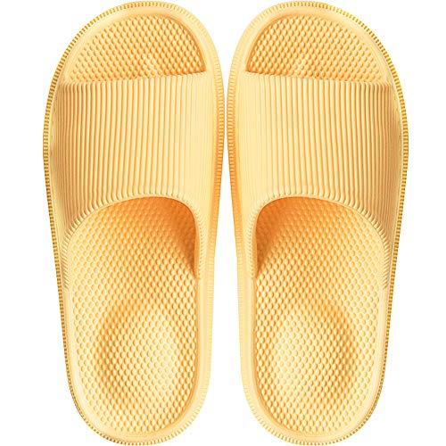 Damen BadeLatschen Schlappen Sandalen Dusch Badeschuhe Hausschuhe Slides Flip Flops Sommer mit Massage Punkt Slippers Indoor Rutschfest,Gelb,36/37 EU