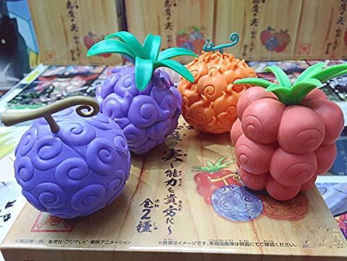 Kurrma One Piece de Fruta del Diablo (2,7 Pulgadas / 7 cm) 4 Piezas de Fruta de Goma/Fruta ardiente/Fruta Oscura/Picar-Picar Fruta PVC en Caja Modelo de Personaje de Dibujos Animados/Estatua f