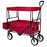 Best Choice Products Folding Utility Cargo Wagon Cart for Beach, Camping, Groceries w/Removable Canopy, Cup Holders