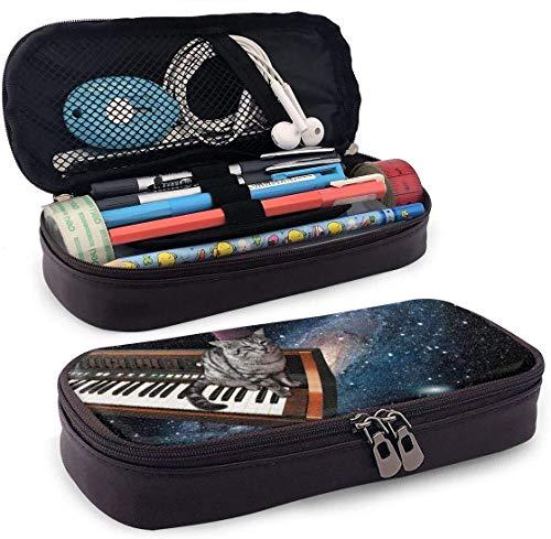 Coole Piano Space Cat Leder Federmäppchen Stifthalter mit Reißverschluss für Mädchen und Jungen - Bleistiftbeutel Schreibwaren Aufbewahrungstasche für das Schulbüro (braun)