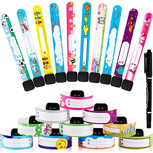 40 Pieces Child Safety Wristband Kids ID Bracelets Child Safety Wristbands Waterproof Recognition Bracelet with Marker Pen for Kids Child Travel Event Field Trip, Outdoor Activity