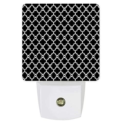 Lámpara de luces LED de noche con diseño geométrico moderno, con sensor de atardecer a amanecer para dormitorio, baño, cocina, guardería, pasillo, escaleras, decoración de pared, color blanco y negro