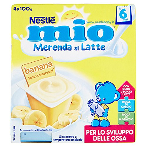 Nestlé Mio - Merenda al Latte Banana, senza Glutine, da 6 Mesi - 3 confezioni da 4 Vasetti di plastica da 100 g [12 vasetti, 1200 g]