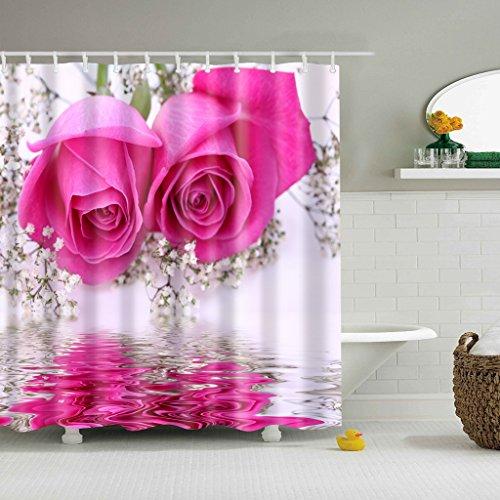 FLAMEER Duschrollo Duschvorhang Dusche Rollo Seilzug Badewannenvorhang - rosa Rose, 180cm