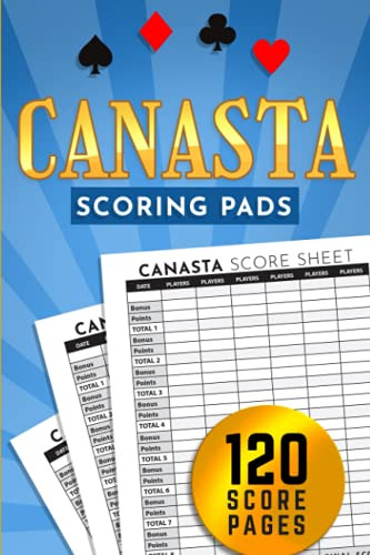 Canasta Scoring Pads: Classic Canasta Score Sheets Notebook with Points Guide, 130 Score Chart Pages for Canasta Card Game, Gift for Canasta Player