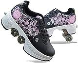 2 in-1-Zapatos de usos Múltiples Quad zapatos de los patines Patines 2 en 1 zapatos multifuncionales Patín en línea con la rueda ajustable y Roller Skating diversión for niños for niños Junior Boys Gi