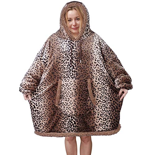 Hoodie Blanket Sweatshirt, Wearable Sherpa Fleece Pullover with Front Pocket, Super Soft Warm Cozy Throw for Men and Women, One Size Fits All (Leopard, Reversible Match Color)