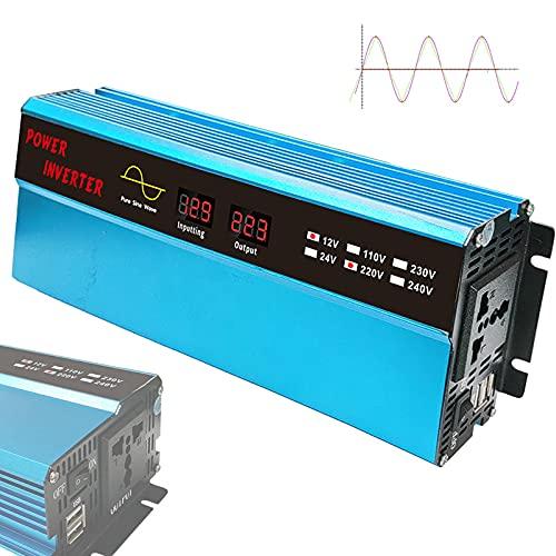 YNITJH Inversor Onda Pura DC 12V/24V a AC 110V/220V 1000W Convertidor de Voltaje Transformador con Puertos USB Tomas UE Pantalla Digital y Ventiladores,2000w Pico,12Vto220V-1000W