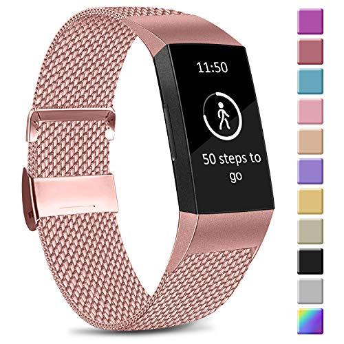 Amzpas Kompatible Für Fitbit Charge 3 Armband/Fitbit Charge 4 Armband, Metall Edelstahl Ersatzarmband Kompatibel mit Fitbit Charge 4/Charge 3/Charge 3 SE (S, 04 Rosa)